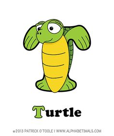 Turtle - Alphabetimals make learning the ABC's easier and more fun! http://www.alphabetimals.com