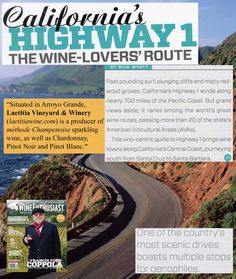 Check out the Laetitia Vineyard & Winery mention in the September 2012 issue of @Wine Enthusiast! Happy to be in the company of Novo Restaurant and Lounge, @Tolosa Winery, Niven Family Wine Estates - Baileyana, Tangent, Trenza, Cadre, Zocker, Dolphin Bay Resort & Spa, Eberle Winery, JUSTIN Vineyards & Winery, Tablas Creek Vineyard and more!
