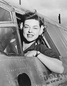 Harlingen Army Air Field, Texas April 1942, Elizabeth L. Gardner of Rockford, Illinois, WASP (Women's Airforce Service Pilot) delivering a Mustang P51B to England