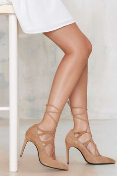 Lace-Up Suede Pump - Camel