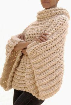 Letras e Artes da Lalá: Colete de crochê, com lã grossa, sem receita!