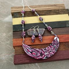 polymer clay and wire necklace and earrings