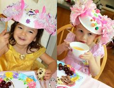 Make tea party hats using stickers, jewels, tissue paper, etc.... On an upside down paper bowl
