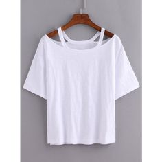 Cutout Loose-Fit White T-shirt ($6.99) ❤ liked on Polyvore featuring tops, t-shirts, white, white t shirt, cut out t shirts, loose t shirt, tee-shirt and white cotton t shirts