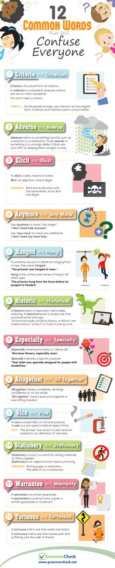 Educational infographic & data visualisation 12 common English words that still confuse everyone (infographic) Infographic Description The infographic Grammar And Punctuation, Grammar And Vocabulary, Grammar Lessons, English Vocabulary, Grammar Check, Esl Lessons, English Words, English Language, Common Grammar Mistakes