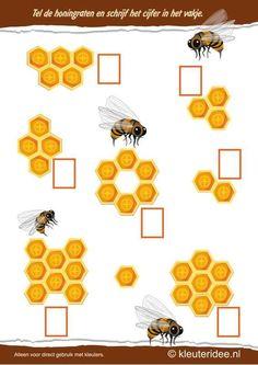 Tel de honingraten , kleuteridee.nl , thema bijen voor kleuters, Count the honeycombs , bees theme for preschool , free printable.