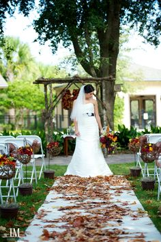 Cute fall wedding decor. Use leaves instead of rose petals, get them as colorful as you can. www.celebrationsbykat.com