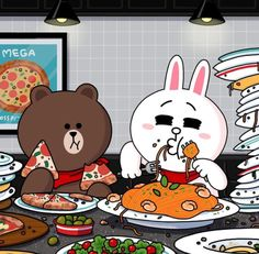 Enjoy Italian foods Brown and Cony