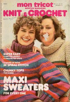 Mon Tricot MD 37 Knit Crochet Patterns Maxi Sweaters Tunic Scarf Entrelac 1976 #MonTricotKnitCrochet