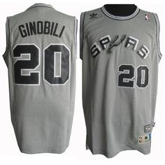 935d5c716 Spurs  20 Manu Ginobili Grey Throwback Stitched NBA Jersey