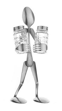 Fork Art Salt & Pepper Shaker (Making it today) Welded Metal Projects, Welding Art Projects, Metal Welding, Arc Welding, Fork Art, Spoon Art, Metal Sculpture Artists, Steel Sculpture, Miller Welding Helmet