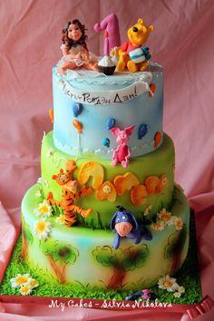 Pooh and Friends Birthday Party Cake - Cake by marulka_s Jungle Safari Cake, Safari Cakes, Winnie The Pooh Cake, Friends Cake, 1st Birthday Cakes, Sculpted Cakes, Character Cakes, Cake Board, Disney Cakes