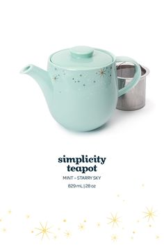 Simplicity Teapot - We're in love with this dreamy peppermint and gold-starred porcelain teapot.