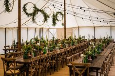Green flowers in green bottles and leaf hoops Wedding Reception At Home, Barn Wedding Photos, Marquee Wedding, Quirky Wedding, Relaxed Wedding, Wedding Breakfast, Alternative Wedding, Green Flowers, Wedding Colors