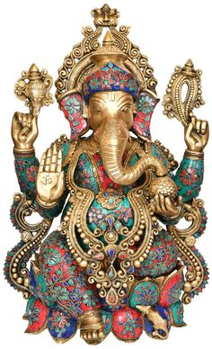 Beautifully Decorated Ganesha, Hindu Brass with Inlay Statue Ganesha Pictures, Ganesh Images, Lord Krishna Images, Shiva Art, Ganesha Art, Ganesh Idol, Ganesh Bhagwan, Ganesh Lord, Lord Shiva