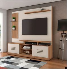 steady with the new style livingroom decor combined decor tv wall to impress a warm personality Tv Stand Modern Design, Modern Tv Unit Designs, Tv Stand Designs, Living Room Tv Unit Designs, Simple Tv Unit Design, Tv Unit Interior Design, Tv Unit Furniture Design, Modern Tv Room, Modern Tv Wall Units