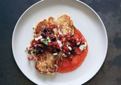 Cauliflower steak with olive relish