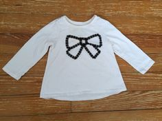 Children's Place 24 months white long sleeve shirt with black bow