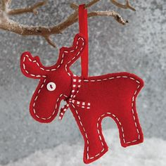 "Natural Wool Felt Moose Ornament. Hmm, gave ""nephew"" a 1st Xmas ornament last year, I think I'll continue each year :)"