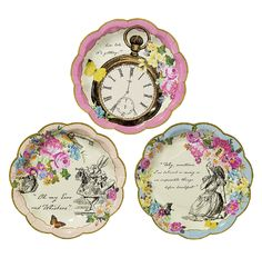 A beautiful set of floral tea party plates featuring the original Alice in Wonderland illustrations.