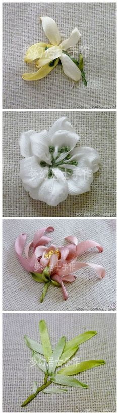 Ribbon Embroidery. Wow. I LOVE the leaves. I would SO do that to a dress or something.