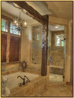Spaces Rustic Shower Design, Pictures, Remodel, Decor and Ideas master bathroom - Bathroom Ideas Rustic Master Bathroom, Rustic Bathroom Designs, Minimal Bathroom, Farmhouse Bathrooms, Craftsman Bathroom, Parisian Bathroom, Country Bathrooms, Shower Designs, Design Bathroom