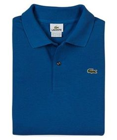 NEW Lacoste Polo Shirt XLT Mens Long Sleeve Golf Pique Blue Size Sz 8L $115 MSRP #Lacoste #PoloRugby