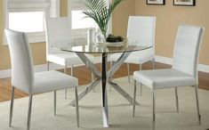 Coaster Furniture Bryn Round Dining Table w/White Upholstered Dining Chairs Round Glass Kitchen Table, White Kitchen Table Set, Modern Kitchen Tables, Glass Round Dining Table, Dining Table Chairs, Kitchen Chairs, Dining Furniture, A Table, Coaster Furniture