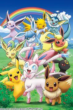 Adorable Eeveelutions and Pikachu