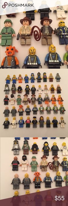 LEGO Minifigure Lot (45) Indiana Jones, Agents Etc Genuine Lot of 45 total Lego Minifigures plus a few weapons/accessories thrown in. From various themes, Indiana Jones, Space Police, Agents, City, Ninjago, Castle, etc. Good condition, no issues. From a smoke free home, Thanks for looking! Lego Other