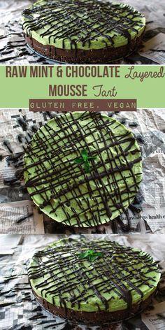 Raw Mint & Chocolate Layered Mousse Tart with Salted Brownie Crust (Vegan, Gluten-Free) | Zena 'n Zaatar