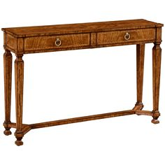 Jonathan Charles Empire Style Walnut Two Drawer Console