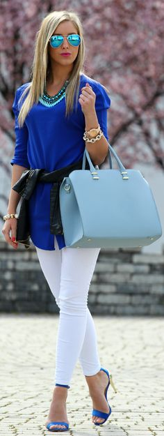H&m Light Blue Leather Tote by Styleandblog.com