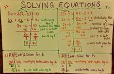 Solving Equations Project This is a project-based assessment over solving equations. The student is given choice of which type of equations they would like to demonstrate how to solve. They write and solve their own equations on a poster board and note the steps they are using as well. Different types of equations have different point values depending upon difficulty.