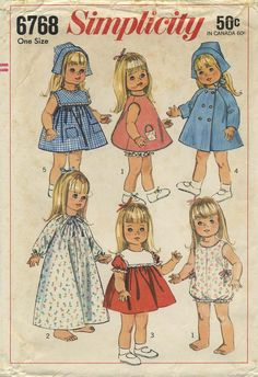 Vintage Doll Clothes Sewing Pattern | Wardrobe for dolls such as Susie Sunshine, Baby First Step and Goody Two Shoes | Simplicity 6768 | Year 1966 | Size 18""