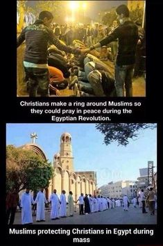 christians and muslims protecting each other.