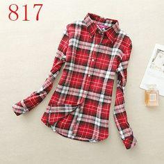 Hot Sale Autumn Winter Ladies Female Casual Cotton Lapel Long-Sleeve Plaid Shirt Women Slim Outerwear Blouse Tops