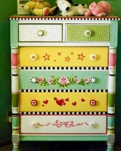 Hand Painted Chest Of Drawers - Foter