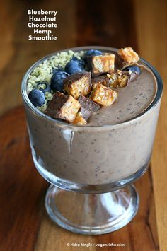 Blueberry Hazelnut Chocolate Hemp Smoothie bowl with Chocolate Peanut ...