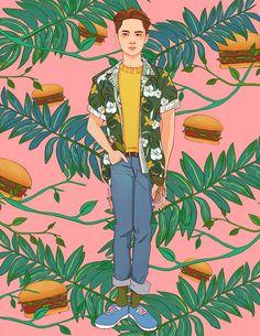 Miss Lumpalinda drawings Exo Memes, Holly Hobbie, Exo Anime, Anime Guys, Exo Kokobop, Exo Chen, Exo Lockscreen, Exo Fan Art, Asian Love