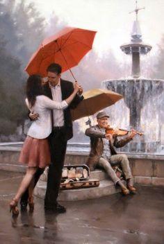 Artist: Daniel Del Orfano-The red umbrella Walking In The Rain, Singing In The Rain, Rain Art, Umbrella Art, Jolie Photo, Couple Art, Beautiful Paintings, Romantic Paintings, Love Art
