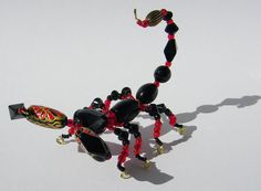 Beaded Scorpion Black and Red by AuroraRosealis on Etsy, $30.00