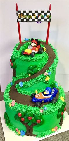 Mickey and the Roadster Racers Birthday Cake Bolo Mickey Baby, Bolo Do Mickey Mouse, Festa Mickey Baby, Mickey Mouse Cupcakes, Mickey Cakes, Mickey Party, Birthday Cake Kids Boys, Mickey Mouse Birthday Cake, New Birthday Cake
