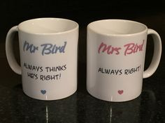 """Pair of Mr & Mrs """"Always Thinks He's Right"""" and """"Always Right!"""" Mugs - Personalise the NAME - Ideal Valentine/Wedding/Anniversary Gifts by SparkleEmporium2 on Etsy"""