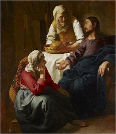 Johannes Vermeer (1632–1675) ; Details of artist on Google Art Project; Christ in the House of Martha and Mary Painting; cerca de 1654 a 1656; Óleo sobre tela; Altura: 1 585 mm. Largura: 1 415 mm. [Galeria Nacional da Escócia]