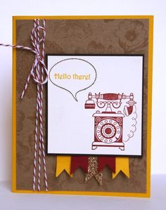 Stamps: Timeless Talk Paper: Crushed Curry, Very Vanilla, Early Espresso, Natural Composition Specialty dsp, Champagne Glimmer Paper Ink: Crushed Curry, Early Espresso, Cherry Cobbler Accessories: Cherry Cobbler Baker's Twine, Stamp-a-ma-jig, Dimensionals