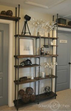 Inexpensive Diy Pipe Shelves Ideas On A Estilo Interior, Home Interior, Interior Design, Truck Interior, Scandinavian Interior, Interior Doors, Kitchen Interior, Interior Ideas, Industrial Shelving