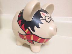 Harry Potter Painted Ceramic Piggy Bank by KaleyCrafts on Etsy