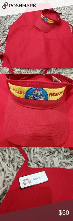 Breaking Bad Los Pollos Hermanos Apron and Hat Unisex- Only worn once as a costume for Halloween. Perfect for Breaking bad fans & Dads that love and BBQ and cook. Very original Father's day gift! Breaking Bad Los pollo Hermanos Apron and Hat. **Collector's item Other