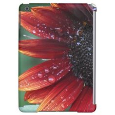 Red Sunflower Petals And Rain Drops Cover For iPad Air - red gifts color style cyo diy personalize unique